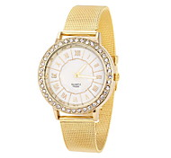 Women's Cool Steel Gold Leather Band White Case with Crystal Analog Quartz Fashion Watch(-Not Water Resistant)