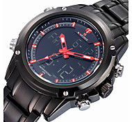 NAVIFORCE® Luxury Brand Men Fashion Analog Digital Double Time Black Full Steel Quartz Sport Watch