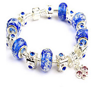 Blue Fine Styly Beads Strand Bracelet with Beautiful Pendant Charm Bracelet