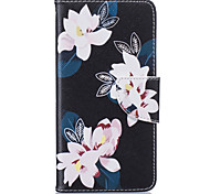 Black Lily Pattern Card Phone Holster for Samsung Galaxy A310/A510