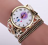 Women's Bohemian Style Fabric Band White Dreamcatcher Case Analog Quartz Layered Bracelet Fashion Watch
