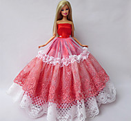 Princess Dresses For Barbie Doll Red / White Dresses For Girl's Doll Toy
