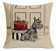 Linen Pillow Cover/Case ,  Woven Traditional/Classic Gifts Dog Feature