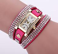 Women's Layered Crystal Leather Band White Case Analog Quartz Bracelet Fashion Watch