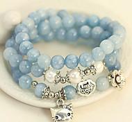 Fashionable Blue 55cm Round Strand Bracelets