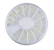 bianco perla ruota decorazione di strass 3 misure di arte del chiodo