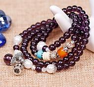 White/Blue Natural Crystal Beads Strand Bracelet(55cm)