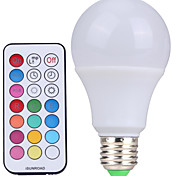 10W E26/E27 Bombillas LED de Globo A60(A19) 12 SMD 600-800 lm Blanco Fresco / RGB Regulable / Control Remoto / DecorativaAC 85-265 / AC