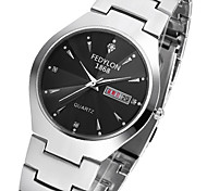 Men's Dress Watch Simulated Diamond Watch Calendar Quartz Stainless Steel Band Cool Casual Silver