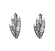 European Luxury Gem Geometric Earrrings Leaf Stud Earrings for Women Fashion Jewelry Best Gift