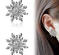 Snowflake Shape Silver Crystal Rhinestone Stud Earrings for Lady