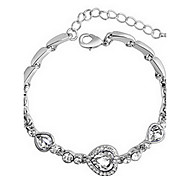 Full Crystal Heart Shape Chain Bracelet