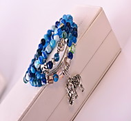 Blue Gem Crystal Layered Strand Bracelet (52cm)