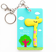 3500 Wholesale Korean Cartoon Stereo Animal Beard Silicone Card With A Key Ring Bus Bank Card Holder (Giraffe)