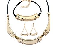 European Style Fashion Simple Metal Crescent Necklace Bracelet Earring Set