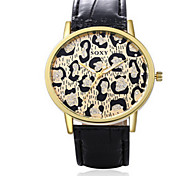 Lady's Black/Brown Leather Band Leopard Case Analog Quartz Dress Watch(NO Water Ressistant)