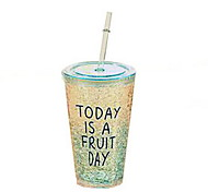 Cute Summer Plastic Ice Cup with Straw (Random Colors)