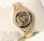 Mulheres Relógio de Moda Quartzo Japonês Relógio Casual Aço Inoxidável Banda Brilhante / Leopardo Prata / Dourada marca-