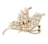 Fashion Women Pearl Gold Plated Butterfly Brooch For Ladies Wedding