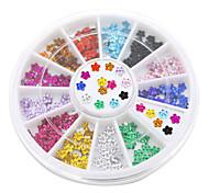 12 цветов искусства ногтя кристаллический блеск горный хрусталь цветок маникюрные колеса шпильки