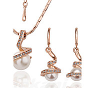 Frauen modisch rosafarbene Halskette Set Gold Ohrringe