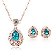 Hollow Drop Shape Rhinestone Pendant Necklace & Earrings Jewelry Set