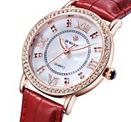 Women's Fashion Watch Quartz Japanese Quartz Casual Watch Leather Band Black White Red White Black Red