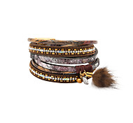 Fashion Women 3 Rows Stone Set Wrap Leather Bracelet