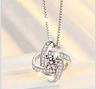 A Diamond Rotating Love Flower Necklace Pendant
