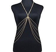 Women's Body Jewelry Belly Chain Body Chain Harness Necklace Gold Plated Fashion Sexy Bikini Crossover Golden Jewelry Daily Casual 1pc