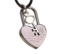 Titanium Steel Vintage Cross Necklace with a Hide Rope--Key to the Heart Lock