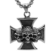 Steel Skeleton Cross Pendant Necklace