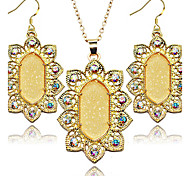 2016 New Arrival Fashion Jewelry Set Oval Shinny Fluorescent Color Women Jewelry Set