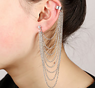 Women's Punk Style Chain Layered Tassel Multilayer European Ear Cuff Clip-on Earrings (1pc)