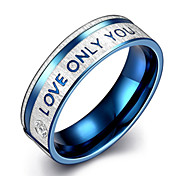 Men's 316L Titanium Steel Blue Band Ring Jewelry with Forever Love Crystal