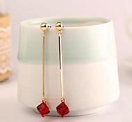 Women Alloy Golden Square Hoop Earrings
