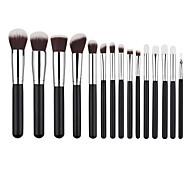 New Arriving 15pcs Silver Synthetic Kabuki Makeup Brush Set Cosmetics Foundation Blending Blush Makeup Tool