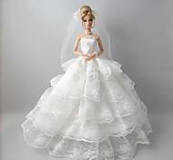 Boda Vestidos por Muñeca Barbie Blanco Encaje Vestidos Para Chica de muñeca de juguete