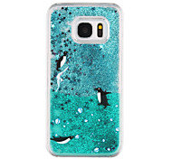 Penguin Pattern Flowing Quicksand Liquid Glitter Plastic PC For Samsung Galaxy S7 edge Galaxy S7