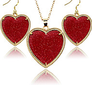 2016 Fashion Jewelry Set for Women Golden Frame Love Heart Fluorescent Jewelery Sets