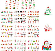 11 Designs Nail Art Red Glitter Christmas Stickers Beautiful Christmas Image Nail Decoration BJC023-033