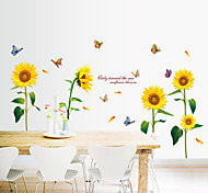 Top Quality Sunflower With Butterfly Florals Wall Stickers DIY Fashion Living Room Dining Room Wall Decals