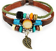 Coffee Leather Band Wrap Bracelet with Pendant