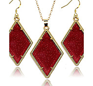 2016 Fashion Jewlery Set Golden Frame Square Shinny Fluorescent 2 PCS Set for Woman