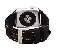 Negro / Caqui Piel / Nailon Correa de Cuero Para Apple Reloj 38mm / 42mm