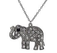 Fashion Retro Carved Elephant Diamond NecklaceImitation Diamond Birthstone