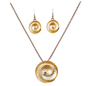 The New European Gold Alloy Personality Level Diamond Necklace Earrings Set