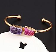 Geometric Natural Stone Cuff Bangle Bracelet