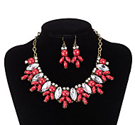 xu® Women's Exaggerate Luxury Brand Fashion Alloy Necklace Earrings Suit