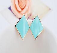 Women Alloy Golden Square Clip Earrings